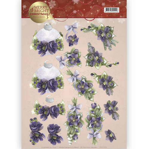 CD11123 - 3D knipvel - Precious Marieke - Merry and Bright -Bouquets in purple