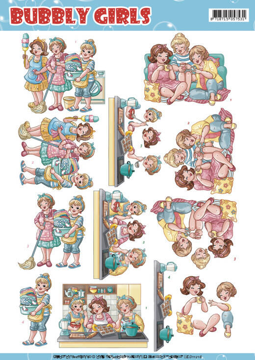 CD11216 - 3D Knipvel - Yvonne Creations - Bubbly Girls - Round the House