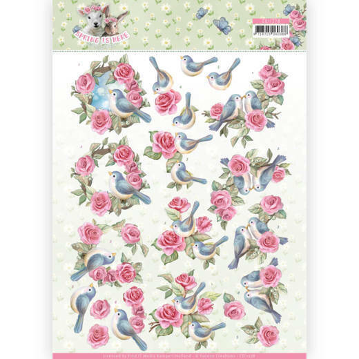 CD11278 - 3D Knipvel - Amy Design - Spring is Here - Birds and Roses