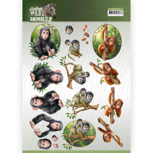CD11299 - 3D Knipvel - Amy Design - Wild Animals - Monkeys