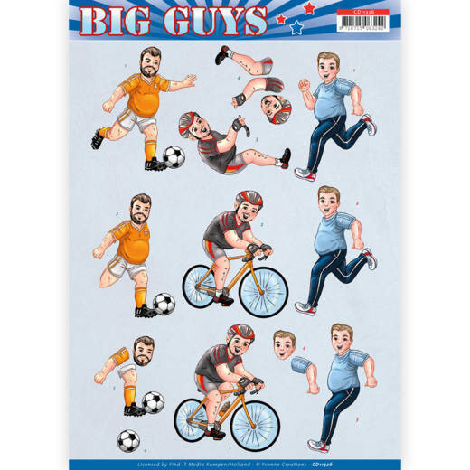 CD11326 - 3D knipvel - Yvonne Creations - Big Guys - Sports