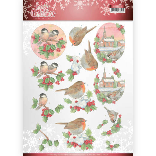 CD11378 - 3D Knipvel - Jeanine's Art - Lovely Christmas - Lovely Birds