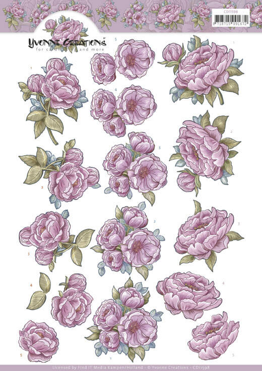 CD11598 - 3D Cutting Sheet - Yvonne Creations - Pink Rose