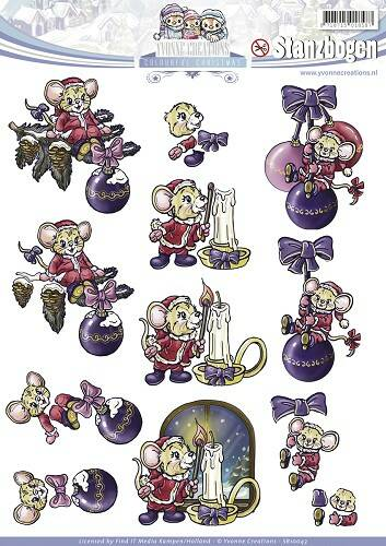 SB10043 - 3D Pushout - Yvonne Creations - Colourful Christmas - Christmas Mice