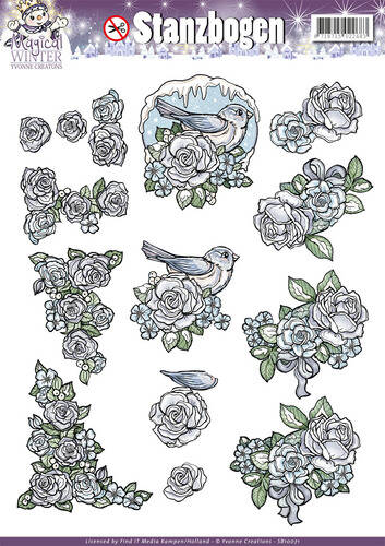 SB10071 - 3D Pushout - Yvonne Creations - Magical winter - Flowers
