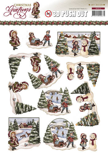 SB10113 - 3D Pushout - Amy Design - Christmas Greetings - Kerstlandschap