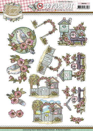 SB10138 - 3D Pushout - Yvonne Creations - Spring-tastic - In the garden