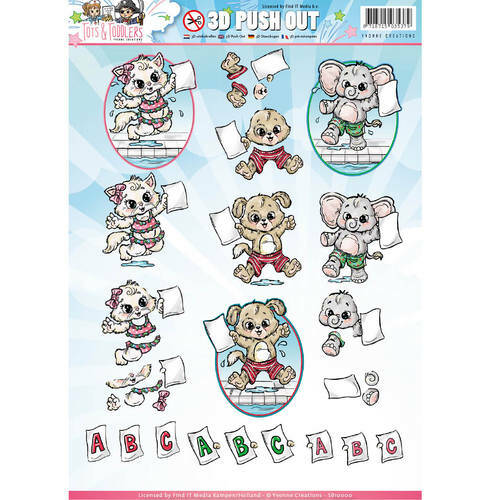SB10146 - 3D Pushout - Yvonne Creations - Tots and Toddlers - Zwemdiploma