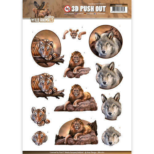 SB10160 - 3D Pushout - Amy Design - Wild Animals