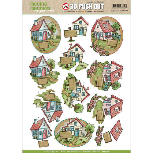SB10164 - 3D Pushout - Yvonne Creations - Moving Madness - Houses