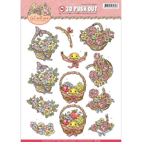 SB10175 - 3D Pushout -Yvonne Creations - Get Well Soon - fruit basket