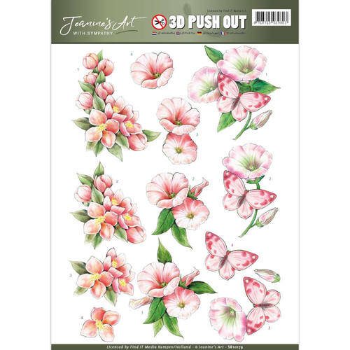 SB10179 - 3D Pushout - Jeanine's Art - With Sympathy - pink flowers