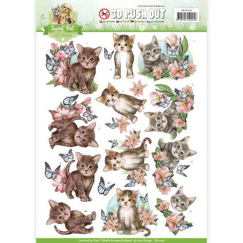 SB10196 - 3D Pushout - Amy Design -Sweet Pets-Cats