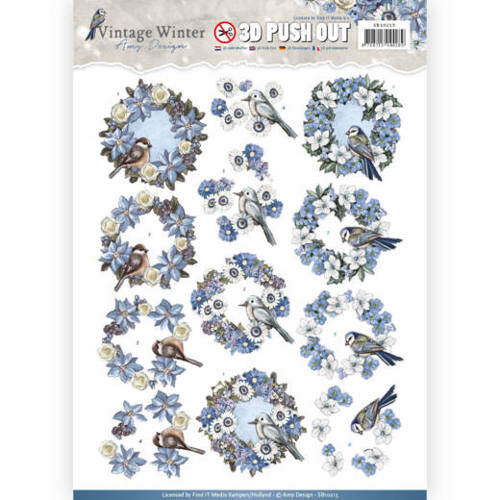 SB10213 - 3D Pushout- Amy Design - Vintage Winter - Wreaths