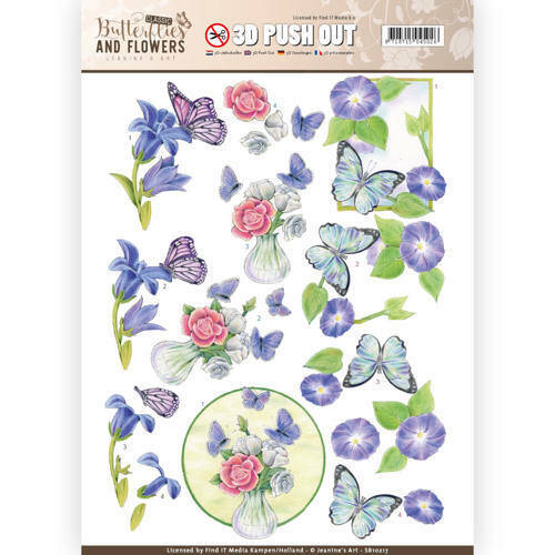 SB10217 - 3D Push Out - Jeanine's Art - Classic Butterflies and Flowers - Butterflies on blue flowers
