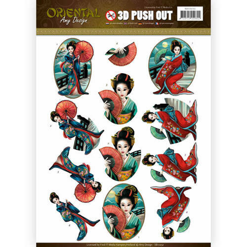 SB10252 - 3D Push Out - Amy Design - Oriental - Geishas