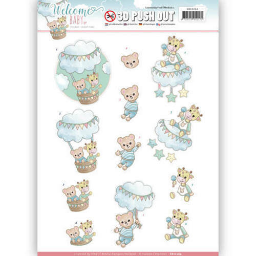 SB10264 - 3D Pushout - Yvonne Creations - Welcome Baby - In The Air