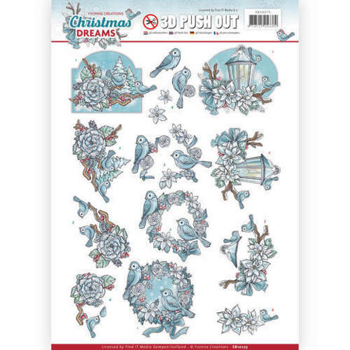 SB10275 - 3D Pushout - Yvonne Creations - Christmas Dreams - Christmas Birds