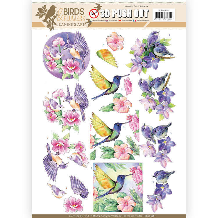 SB10318 - 3D Pushout - Jeanine's Art - Birds and Flowers - Tropical birds
