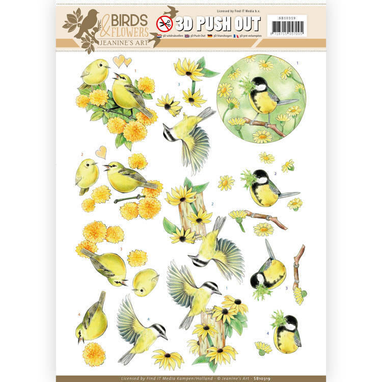SB10319 - 3D Pushout - Jeanine's Art - Birds and Flowers - Yellow birds