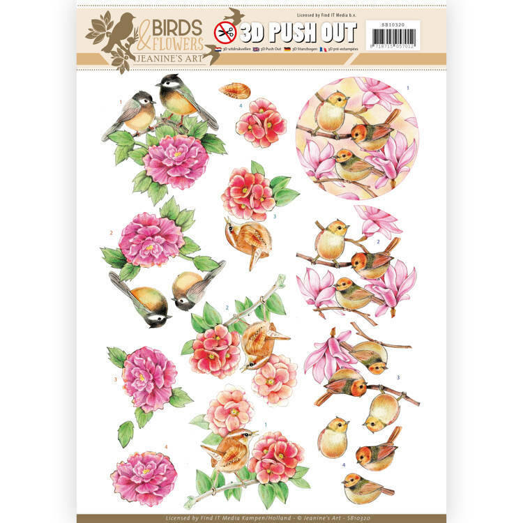 SB10320 -  3D Pushout - Jeanine's Art - Birds and Flowers - Pink birds