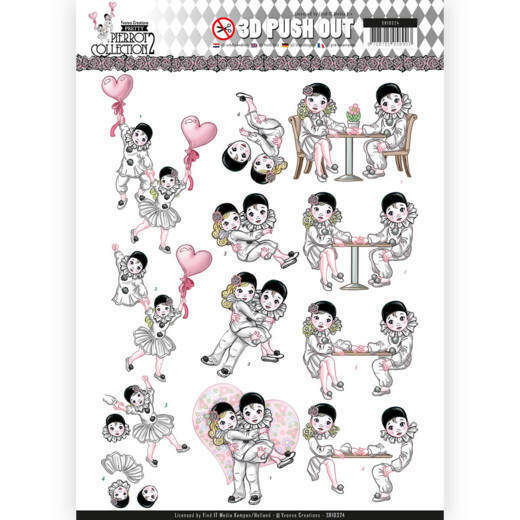 SB10324 - 3D Pushout - Yvonne Creations- Pretty Pierrot 2 - Love is in the Air