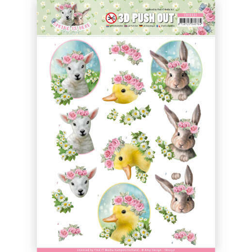 SB10331 - 3D Pushout - Amy Design - Spring is Here - Baby Animals