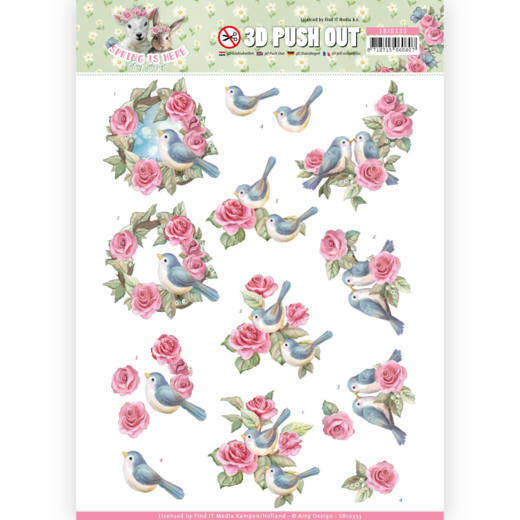 SB10333 - 3D Pushout - Amy Design - Spring is Here - Birds and Roses