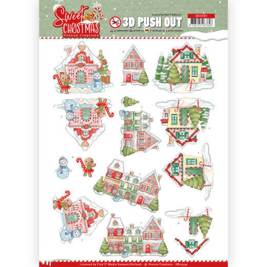 SB10394 - 3D Pushout - Yvonne Creations - Sweet Christmas - Sweet Houses