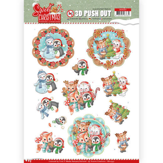 SB10397 - 3D Pushout - Yvonne Creations - Sweet Christmas - Sweet Winter Animals