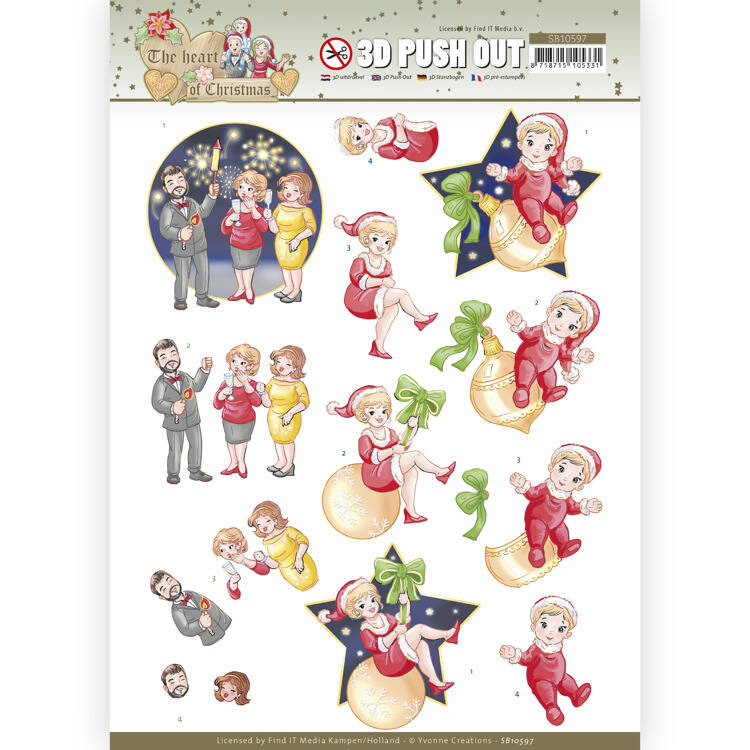 SB10597 - 3D Push Out - Yvonne Creations - The Heart of Christmas - Fireworks