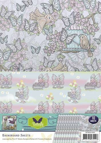 SETBGS10005 - Background sheets - Yvonne Creations - Butterfly Collection