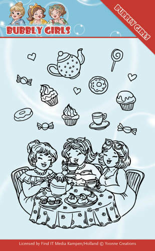 YCCS10043 - Clear Stamps - Yvonne Creations - Bubbly Girls - Tea Party