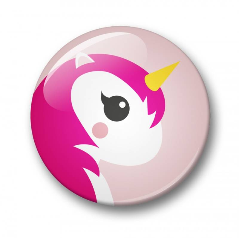 Button 32mm - Pink unicorn