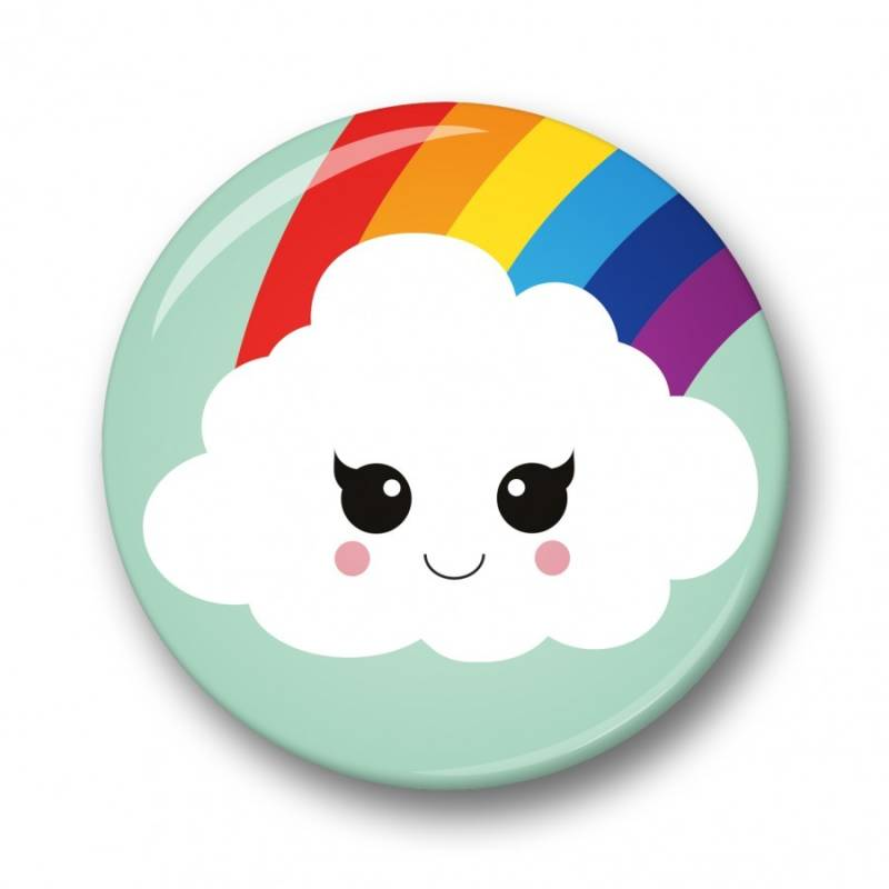 Studio Inktvis button - Cloud & Rainbow 32mm
