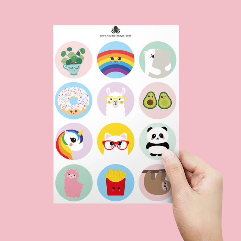 Stickersheet A5 - 12 stickers (Llama, avocado & donut)