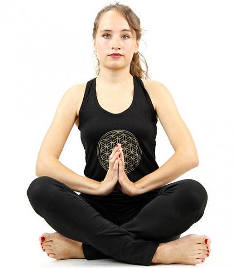 Yoga top 'Flower of life' zwart