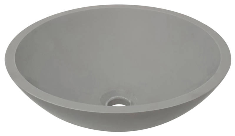 Opbouw wastafel solid surface rond 43 cm beton look
