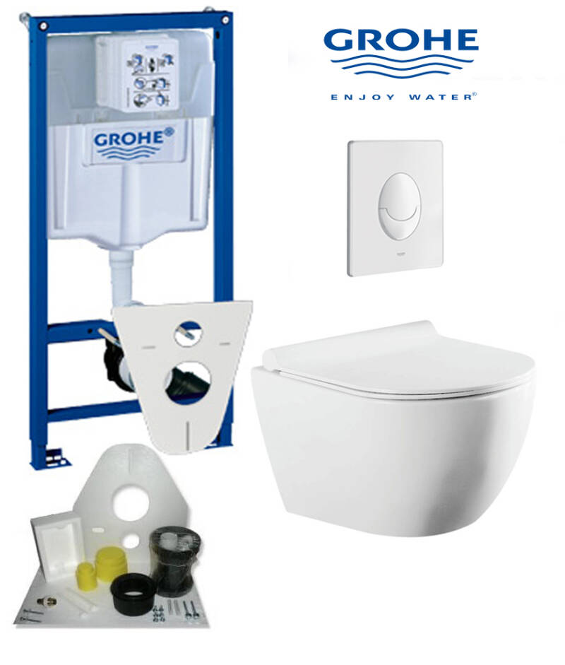 Toilet set Grohe met Omega compact randloos toilet 49 cm wit