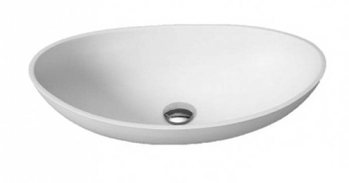Opbouw wastafel solid surface ovaal 57 cm mat wit