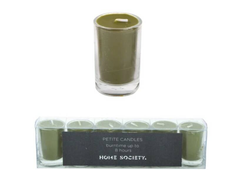 Home society kaarsjes in glas groen- set van 6