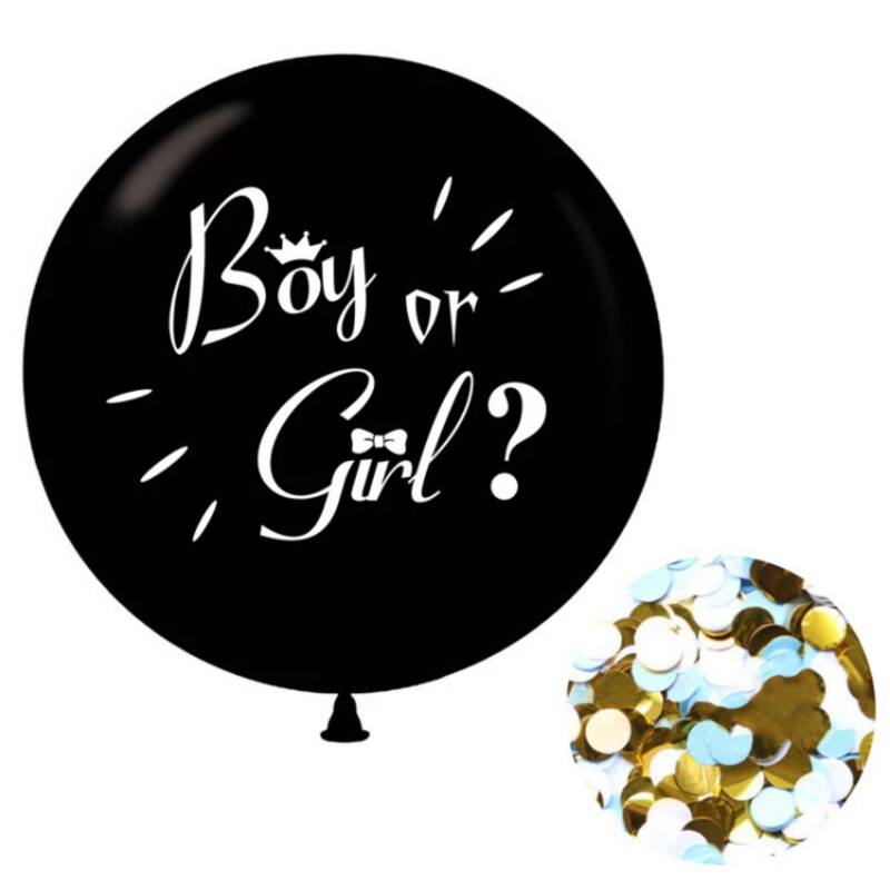 Gender Reveal Ballon 90 CM - Incl. Blauwe Confetti - Boy or Girl