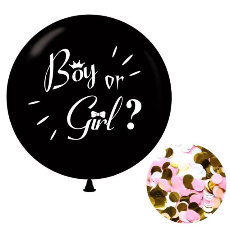 Gender Reveal Ballon 90 CM - Incl. Roze Confetti - Boy or Girl