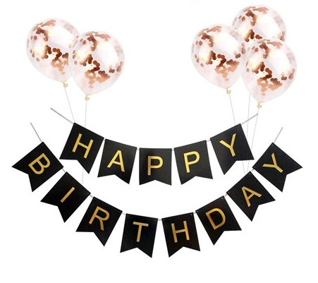 Happy Birthday Banner Black Rose Gold Slinger
