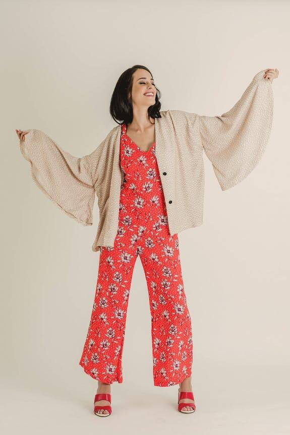 Shirley Jumpsuit - Floral Coral