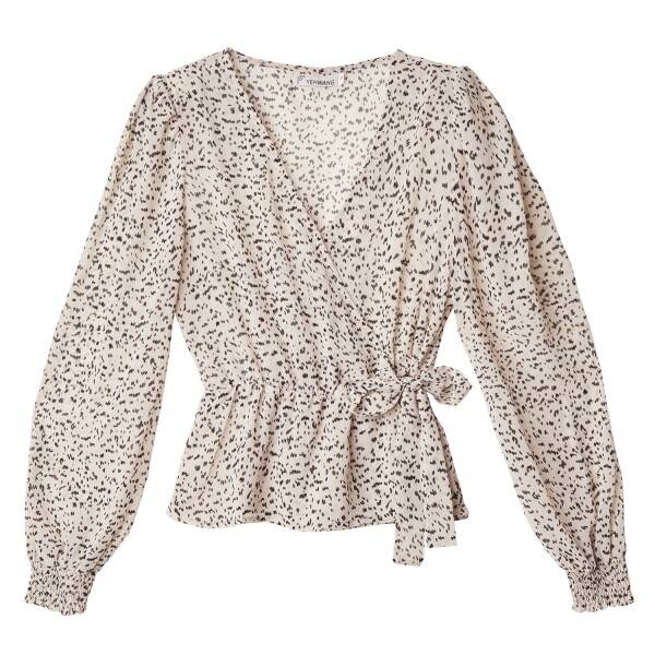 Speckled wrap top - White