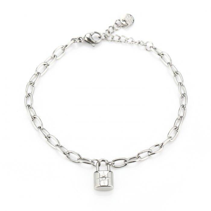 Diamond lock bracelet - Silver