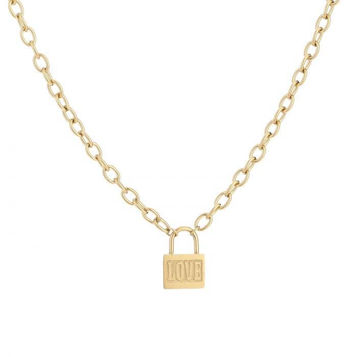 Lock with love necklace - Gold