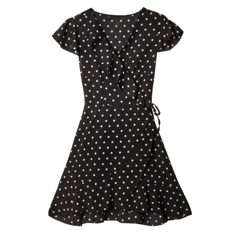 Dot wrap dress - Black
