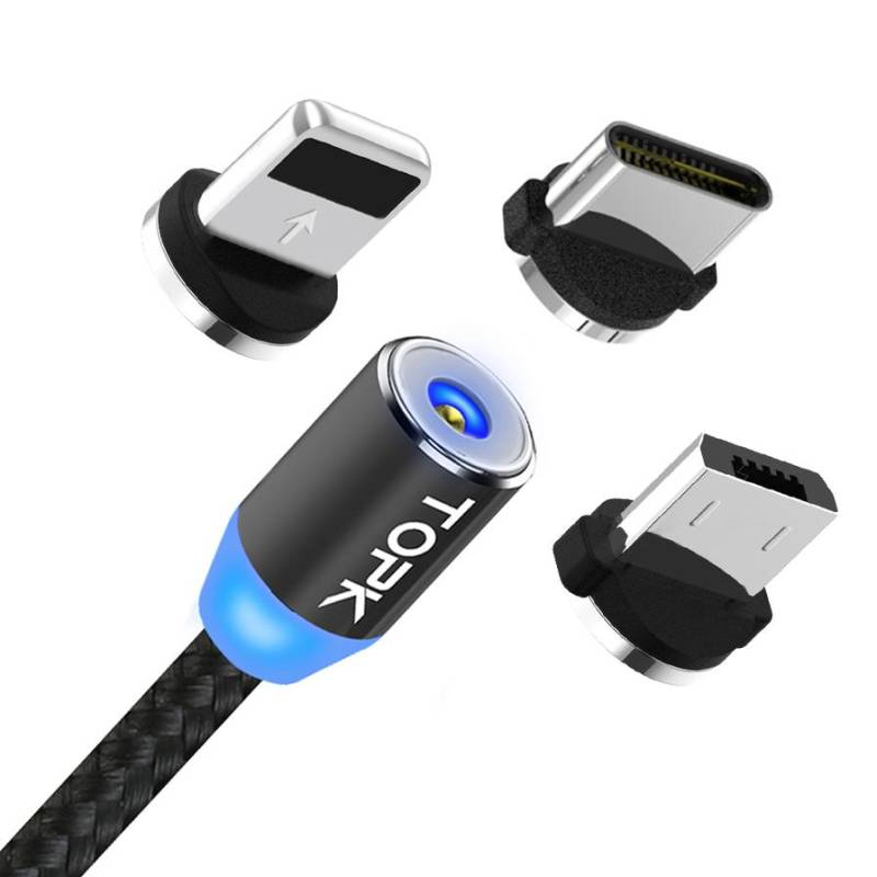 TOPK AM23 Magnetic Cable 3 in 1 Plug-in